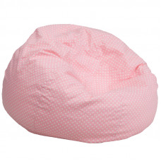 Oversized Bean Bag Chair - Light Pink with White Polka Dots