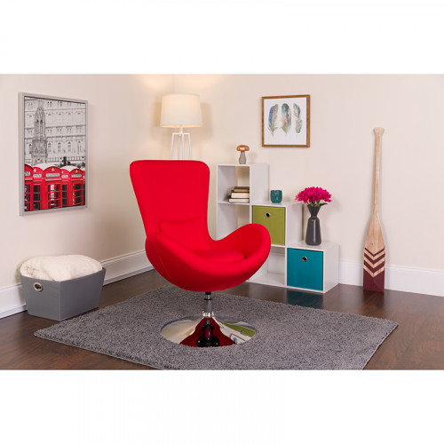 Red Fabric Egg Chair - Reception Room