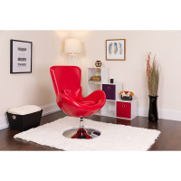 Red Leather Egg Chair - Reception Room