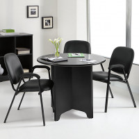 Round Conference Table in Espresso