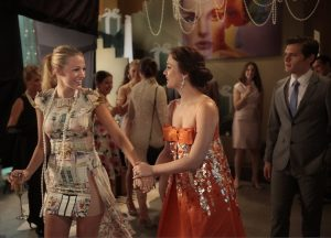gossip girl, party, girls in dress holding hands while talking